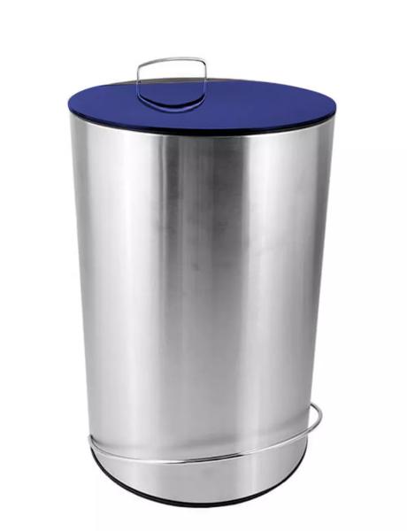 Lixeira Redonda Inox Escovado com Pedal e Balde 12 L Azul