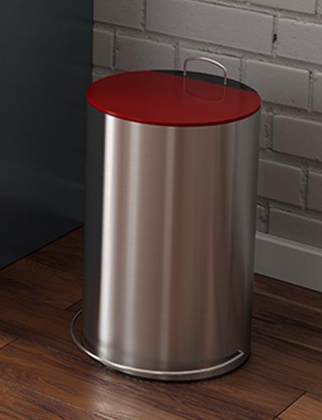 Lixeira Redonda Inox Escovado com Pedal e Balde 12 L Vermelha