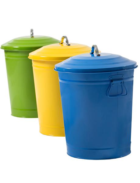 Lixeira Redonda em Metal 18 L Azul, Amarela e Verde