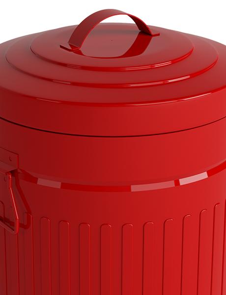 Lixeira Redonda Retrô Metal com Pedal e Balde de 12 L  Vermelha