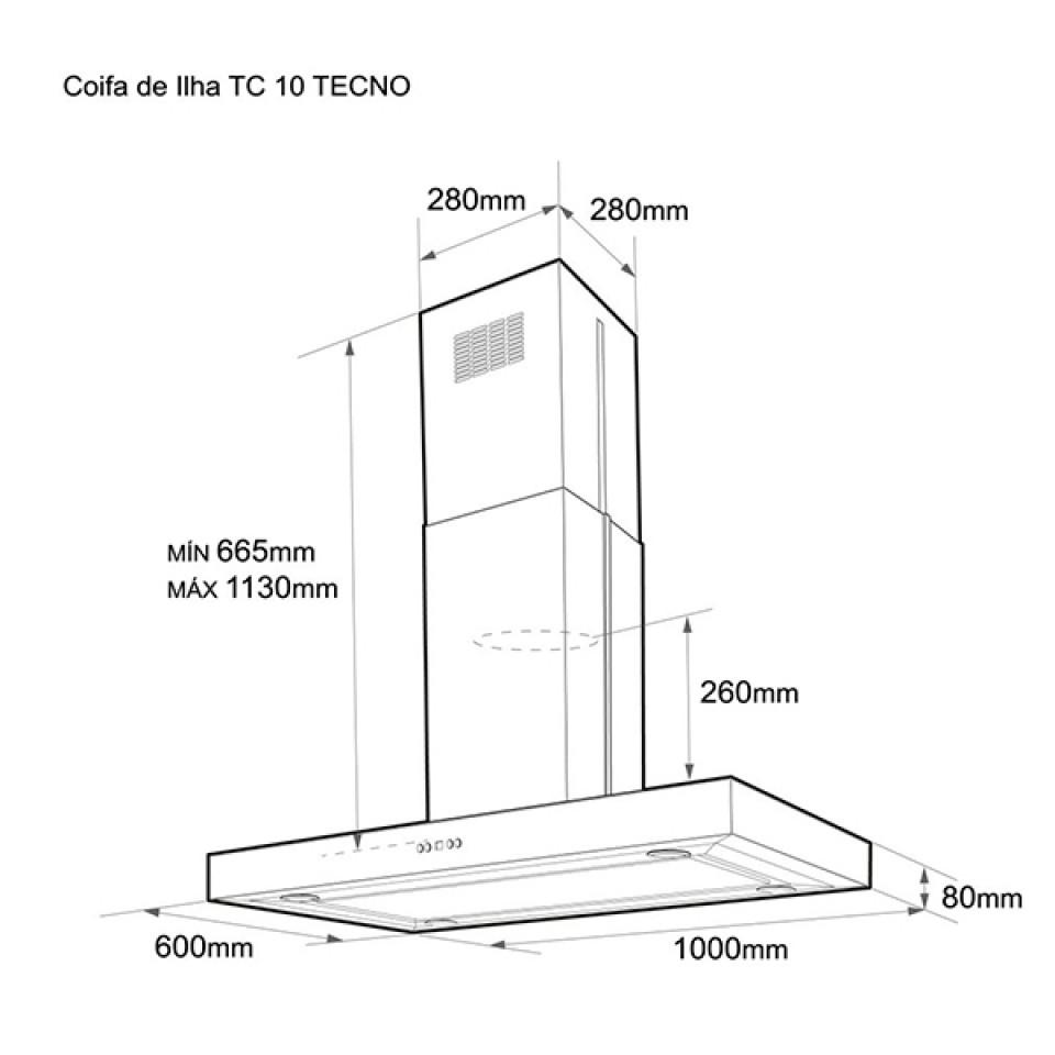 Coifa de Ilha Tecno 1000mm